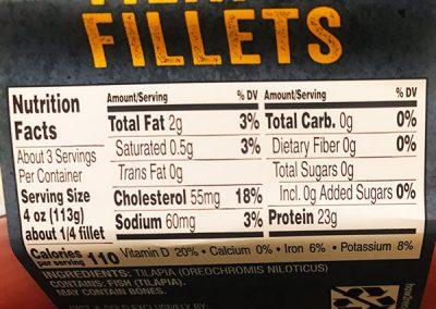 Tilapia Fillet Nutrition